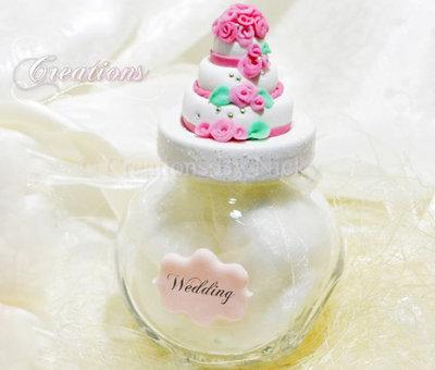 Barattolino con wedding cake in fimo