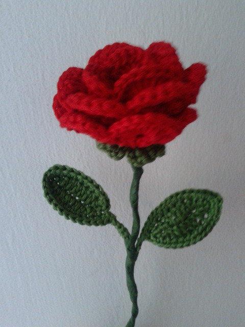 rosa uncinetto con gambo - Feste - Idee regalo - di Le ...