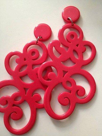Orecchini grandi pendenti in resina leggeri rossi fatti a mano san valentino