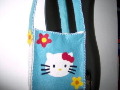 Borsetta Borsa Hello Kitty in pannolenci fatta a mano