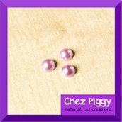 10 x mini cabochon mezza perla LILLA