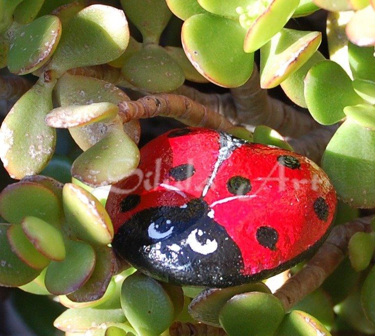 Coccinella fermacarte portafortuna dipinta su sasso