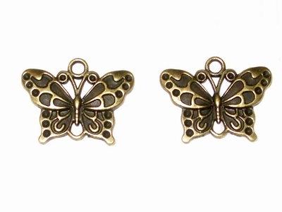 4 charms farfalla in metallo bronzo 25x 18mm vend.