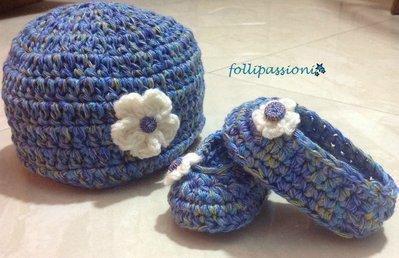 Set berretto e scarpine baby in morbida lana