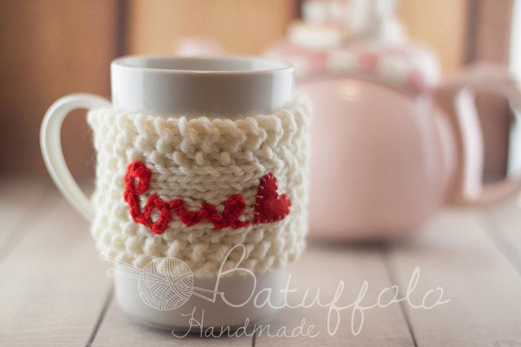 copri tazza - mug fatto a maglia con cuore -  BatuffoloHandmade