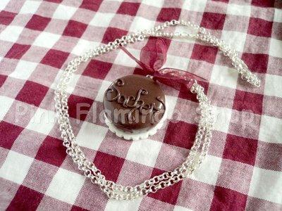 Torta Sacher - collana in Fimo - kawaii sweets