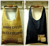 borsa in denim&juta