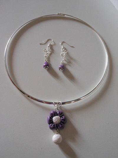 Collana e orecchini in fimo wire