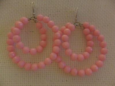 Orecchini doppio cerchio rosa