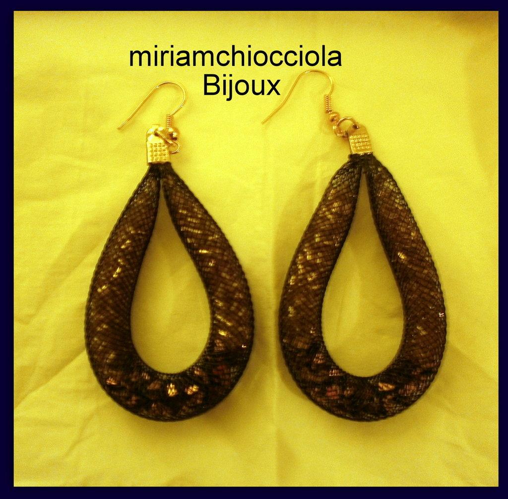 orecchini con tubolare nero/bronzo