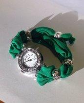 Bracciale orologio in lycra, cassa con strass trasparenti e perle metallo con strass