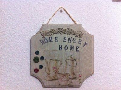 Targhetta porta home sweet home in legno