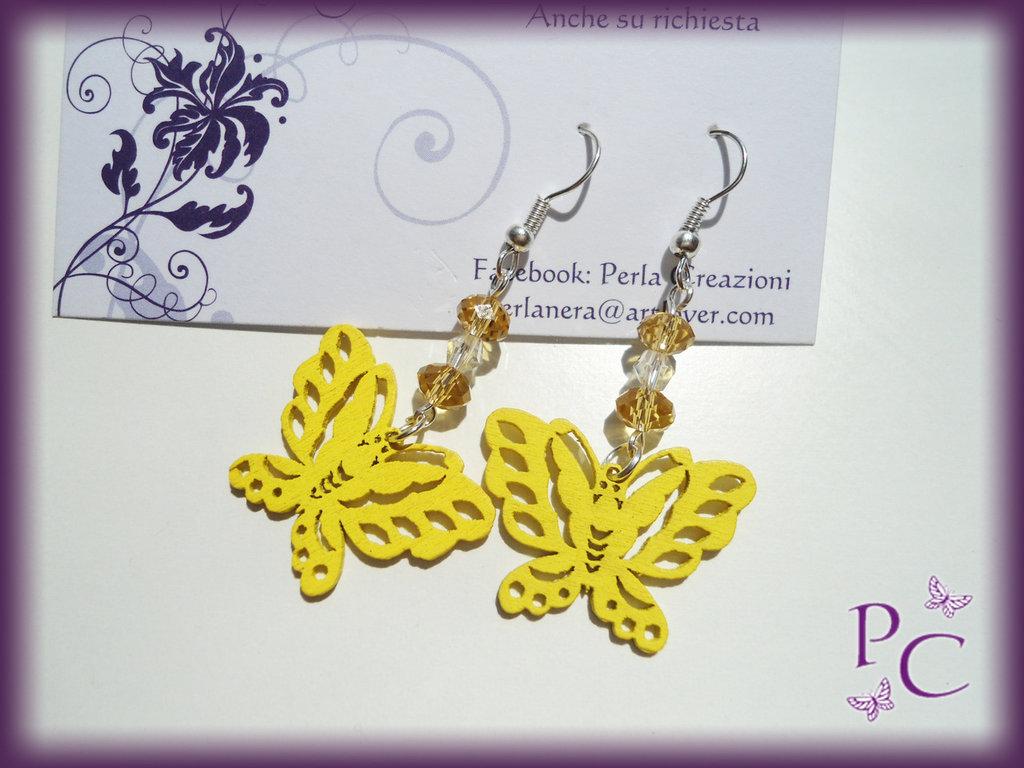 Orecchini pendenti in legno - farfalle gialle