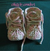 Uncinetto baby scarpe con lacci neonata fatto a mano Crochet baby shoes baby girl  Hand made