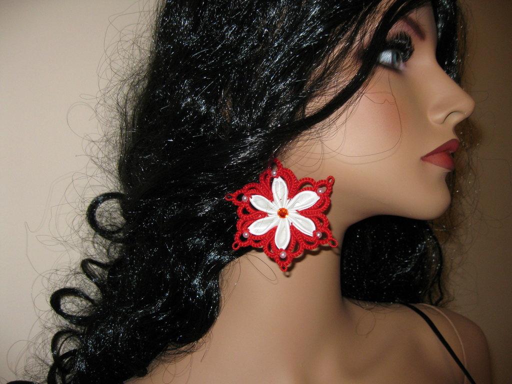 Orecchini fatto a mano earring hand made tatting