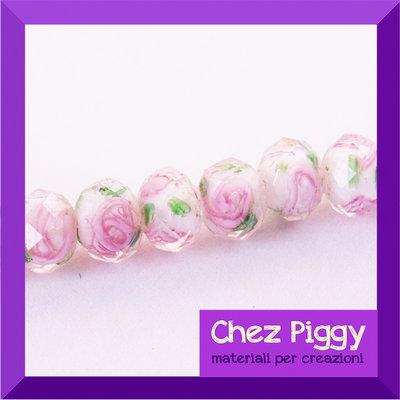 1 x perla sfaccettata decorata