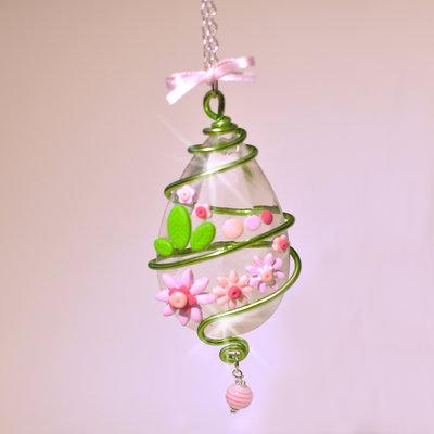 """Collana con Medaglione in vetro - Glass Drop """"Pink Flower"""""""