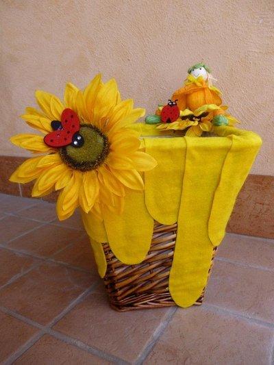 """cesto in vimini per bomboniere """"giallogirasole"""""""