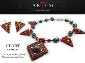 Parure CHEOPE in terracotta modellata a mano con Argento Tibetano, Lapislazzuli e Agata Botswana Rossa