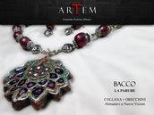 Parure BACCO in terracotta modellata e dipinta a mano con Argento Tibetano e cristalli neri