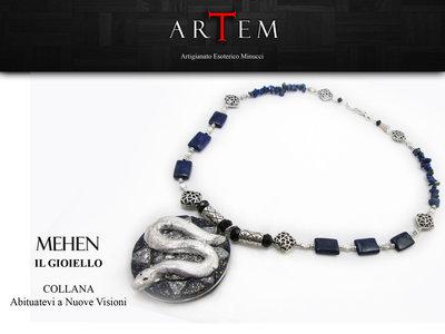 Collana MEHEN in terracotta modellata a mano con Foglia Argento Puro, Lapislazzuli e Argento Tibetano