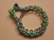 Bracciale con filo di cotone sfumato azzurro