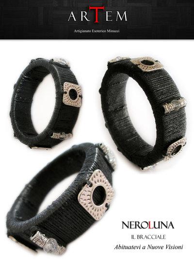 Bracciale NEROLUNA in legno rivestito in corda e impreziosito con Cristallo di Rocca  e Argento Tibetano
