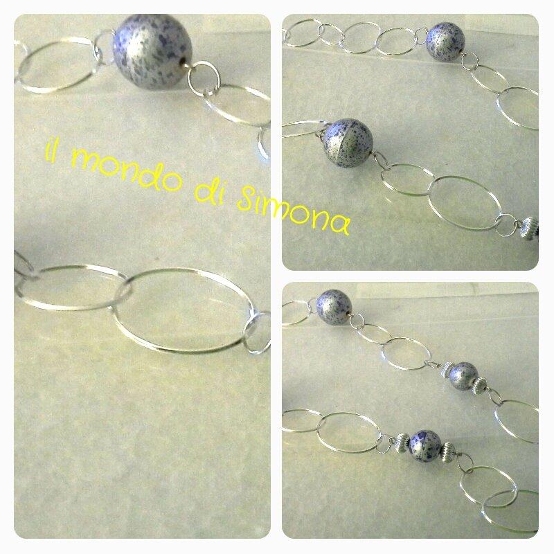 collana catena di cerchi color argento e perle marmorizzate