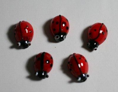 5 coccinelle in vetro di murano. 5 ladybugs in glass Murano.