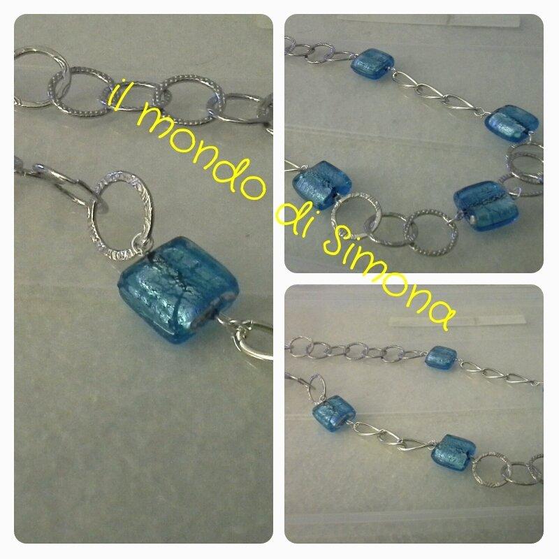 collana di catena mista con perle di vetro azzurro
