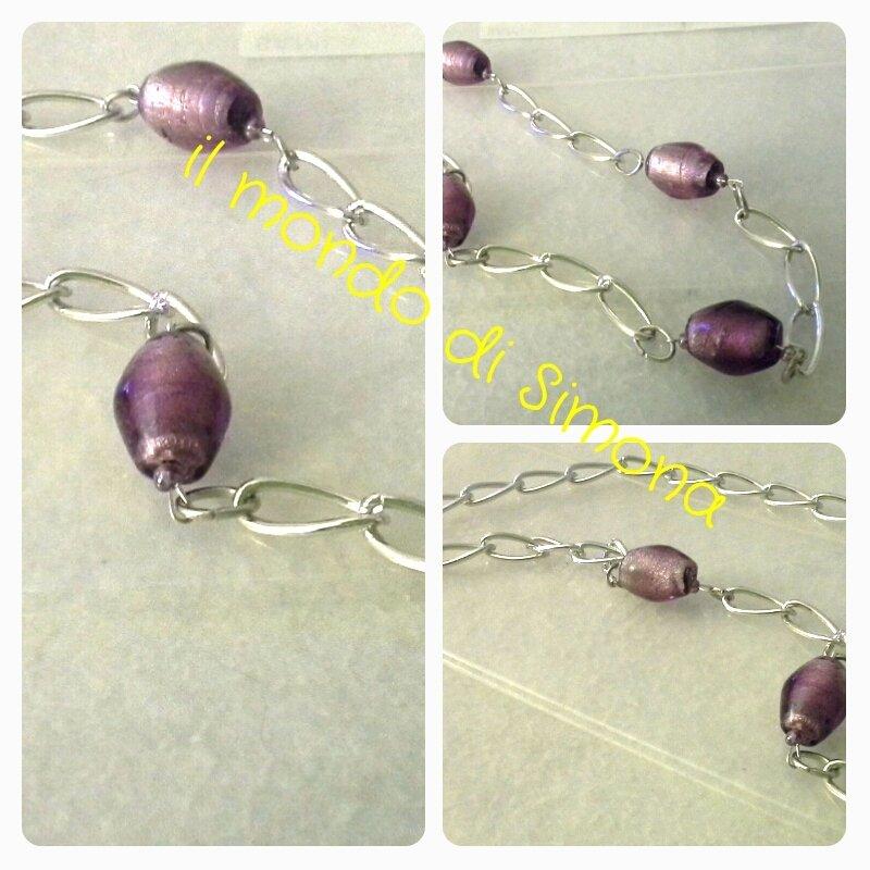 collana con catena di maglie allungate color argento e perle ovali di vetro viola