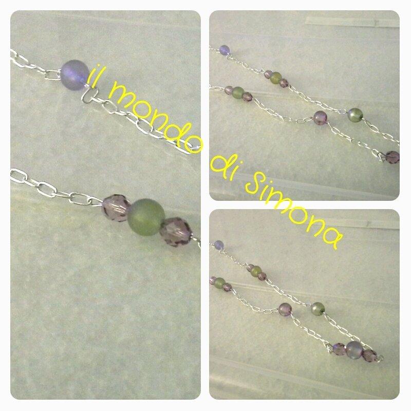 collana catenella argentata e perle verdi e viola