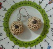 Orecchini cookie con cuore fimo