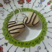 Orecchini biscottini cuore fimo