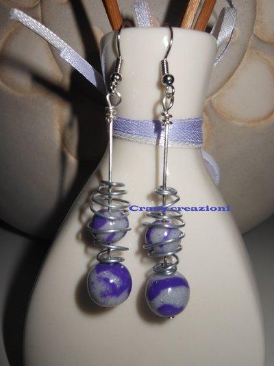 Orecchini con perle in fimo e alluminio