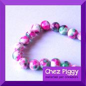4 x perle in turchese sintetico - PINK e verde