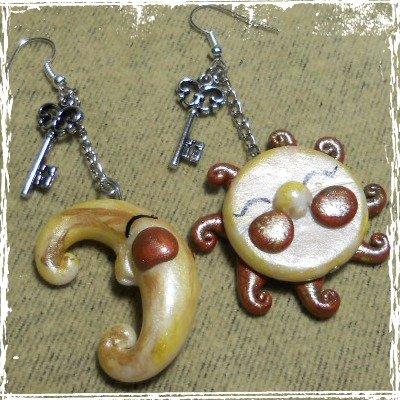 Orecchini pendenti Sole e Luna Key in fimo con monachella, handmade.