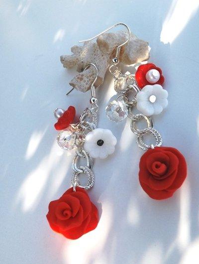 Orecchini rose rosse san Valentino fimo,cristalli e ceramica