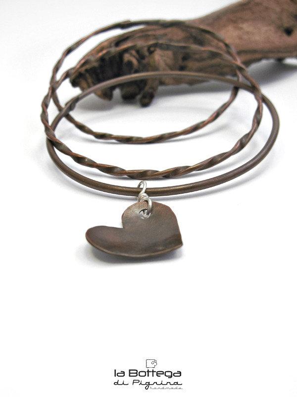 Bracciali Copper Bangle & Heart