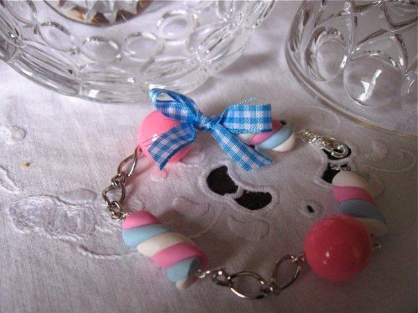 Bracciale Marshmallow azzurri e rosa