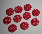 Bottoni rossi a pois 24mm. Buttons red whit pois 24mm.