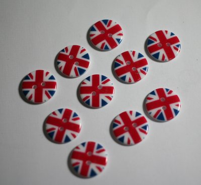 Bottoni bandiera inglese 18mm. Buttons english flag 18mm.