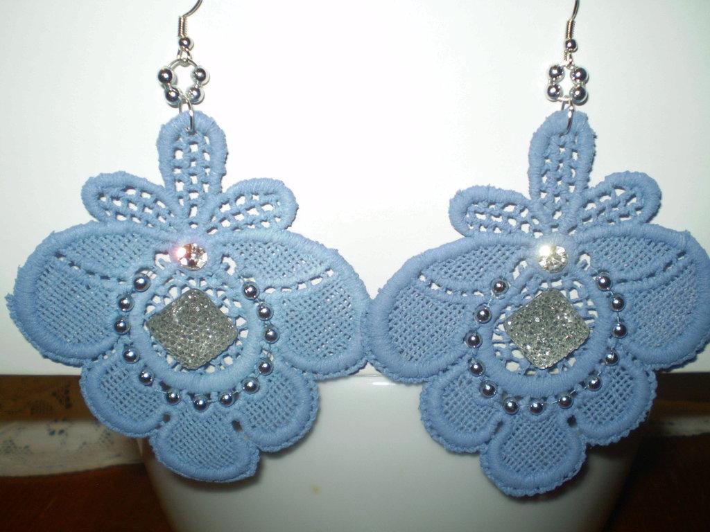 orecchini azzurri con pietra argentata