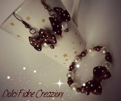 Bracciale fiocchi e perline - chocolate