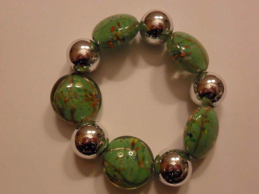 Bracciale verde e oro