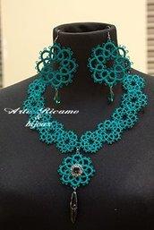ArteRicamo&Bijoux orecchini Artigianali con pendenti & collana in Chiacchierino