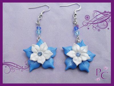 Orecchini pendenti Fiori Doppi - Azzurro