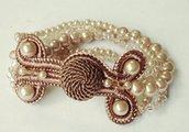 Bracciale passamaneria, perle e cristalli Swarowsky