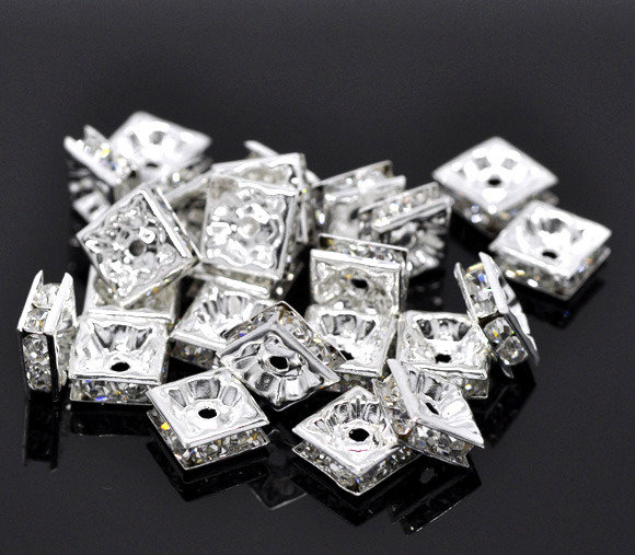 Distanziatori Perle Quadrate con Strass Argentato 8x8mm