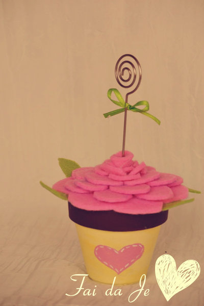 Vasetto porta foto rosa e beige con cuore - realizzato a mano